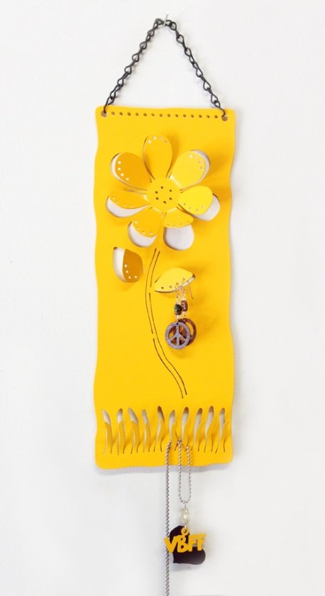 Daisy Jewelry Holder in Yellow (powder coated)