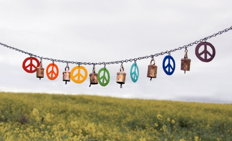 Large peace flags.